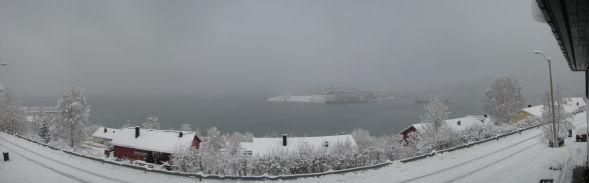 View from Ankenes towards Narvik - in between the snow showers