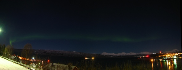 Northern Lights Panorama - The Mountains shimmering with moonbeams in the background