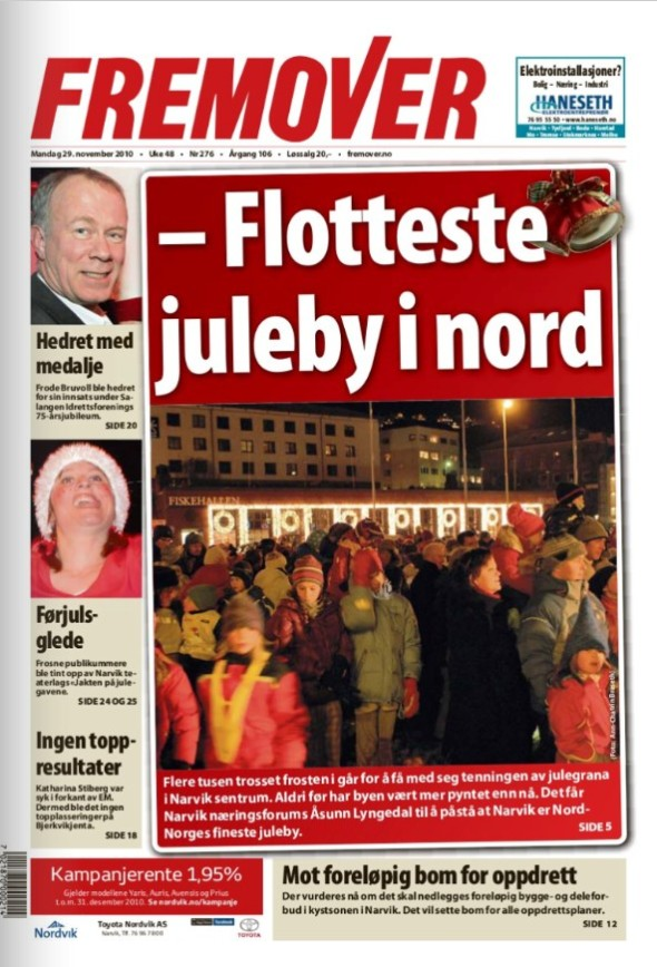 Front Cover of the local Newspaper - Fremover - today