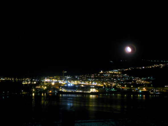 Moon above Narvik Harbor