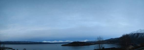 Panorama of the inner part of the Ofoten Fjord and Narvik