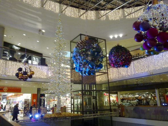 Christmas decorations in the Bruun's Shopping Mall - Aarhus, Denmark