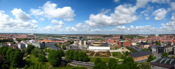 Panorama View from the bell tower of the Municipal Hall in Aarhus, Denmark