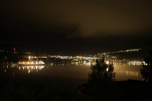 Foggy Narvik Harbor tonight