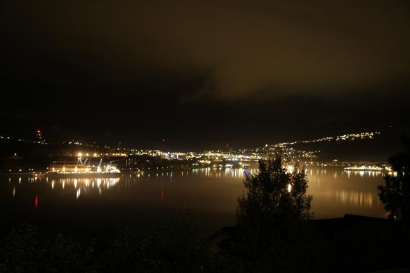 Foggy Narvik Harbor tonight