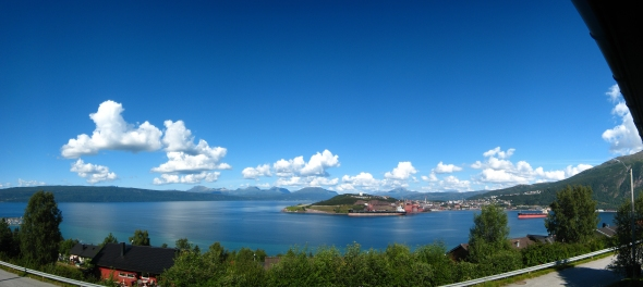 Panorama overlooking the Ofoten Fjord and Narvik Harbor