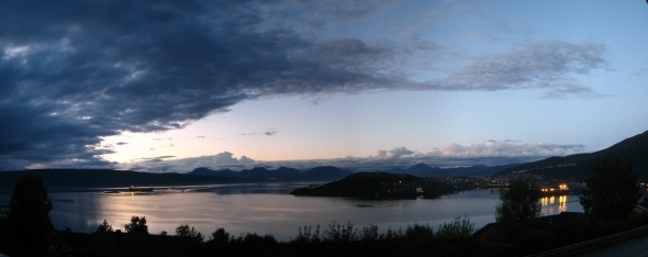 Tonight's Panorama of the Ofoten Fjord with cumulus clouds in the background