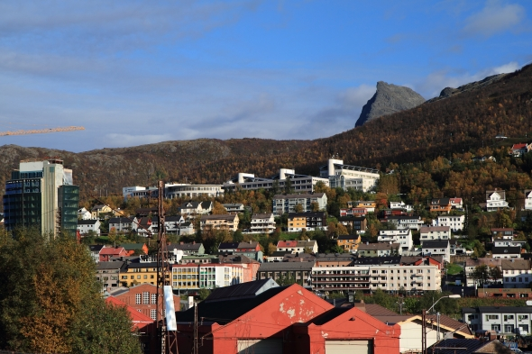 Mt. Tøttatoppen 1,249 meters - in the foreground the Polytechnical College in Narvik and to the left the new Rica Hotel being built