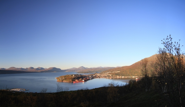 Panorama of The Ofoten Fjord and in the foreground Ankenesstrand in the middle the city of Narvik and in the background Bjerkvik.