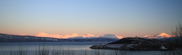 Sun covered mountains by the Ofoten Fjord