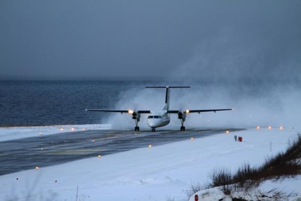 Dash 8 thundering down the Runway 19 - Narvik Airport