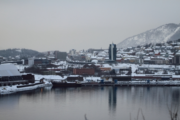 Downtown Narvik with the harbor in front