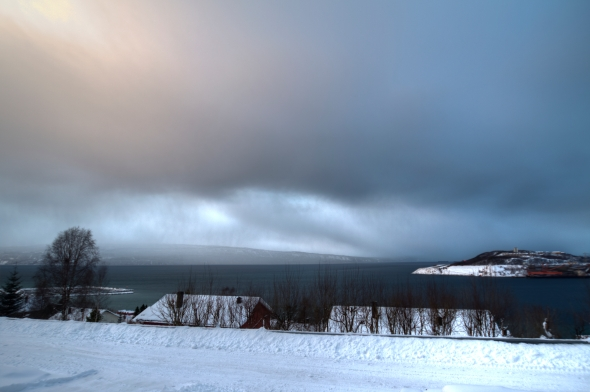 HDR of a snow shower moving through the Ofoten Fjord