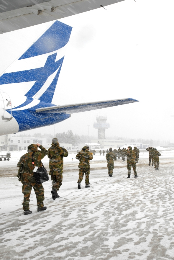 Norwegian Home Guard arrives Bardufoss for the exercise Cold Response 2012 (Photo: Nils Bernt Rinde/HV/Forsvarets mediesenter)