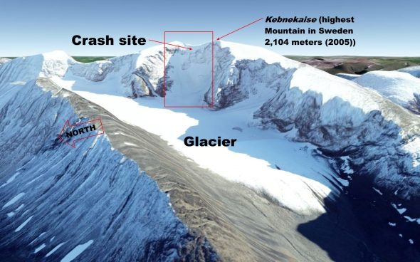 Crash site in the high alpine area - (photo: Google Earth)
