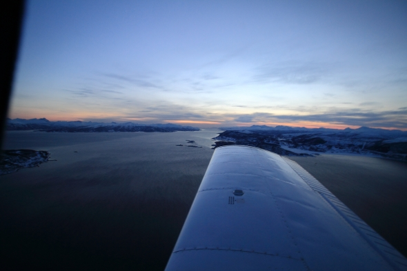 The Ofoten Fjord this evening seen over the wing of Lima November