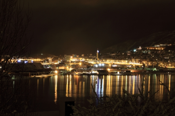 Narvik City laying silently under a thick carpet of snow