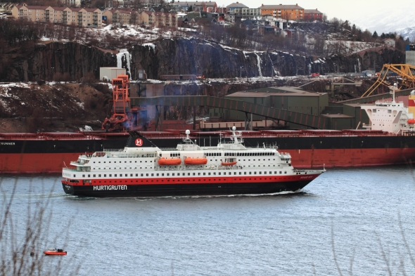 """""""Richard With"""" - one of the ships serving """"The most beautiful sea voage in the World"""" - steaming into port. In the background the bulk/iron ore carrier """"Vogerunner"""" (176,838 DWT)"""