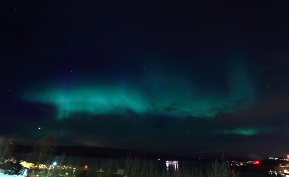 Aurora Borealis yesterday over the Ofoten Fjord