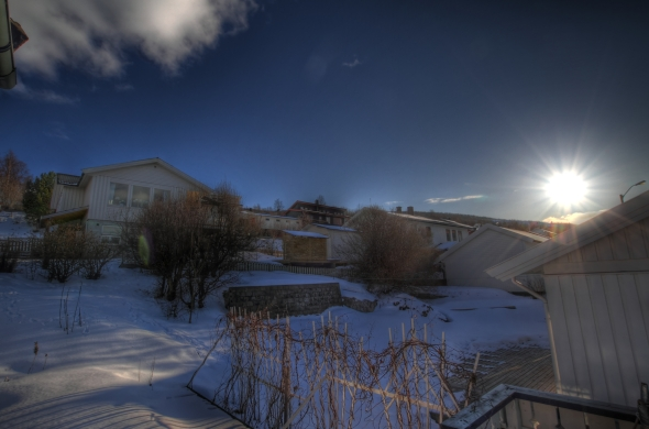 Sun peeking over the Ankens mountain - HDR composite of 6 images