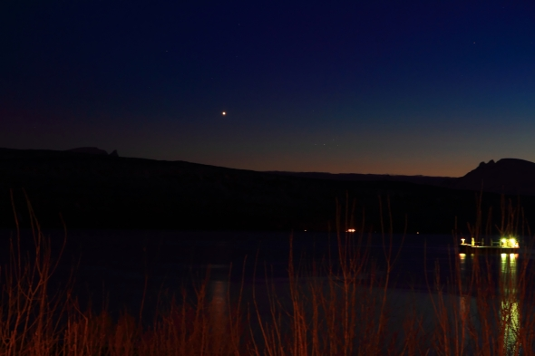 Venus is shining very brightly these days - here reflecting itself in the Ofoten Fjord