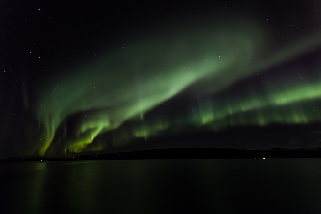 Aurora borealis above the Ofoten Fjord with the mountain Veggen in the background as seen from Ankenes yesterday.