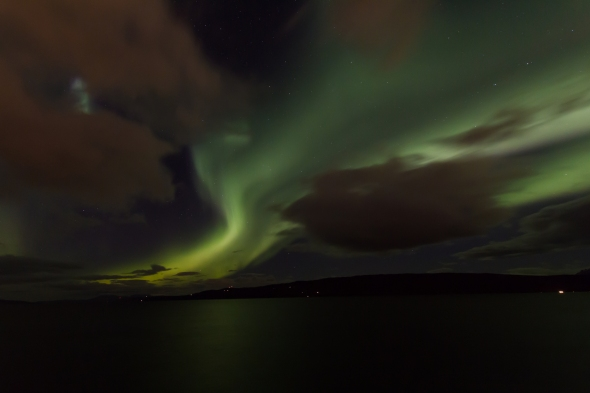 Beautiful Northern Lights above the Ofoten Fjord